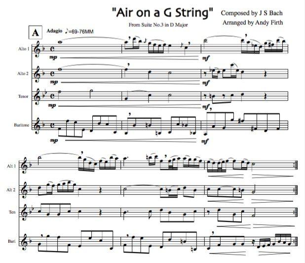 AIR on a G String Arranged for Intermediate-Advanced Saxophone Quartet